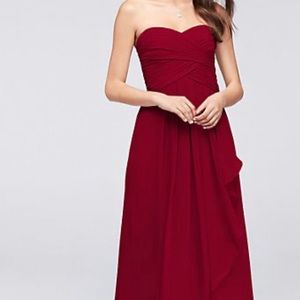 David's Bridal Strapless Chiffon Dress Wine 8